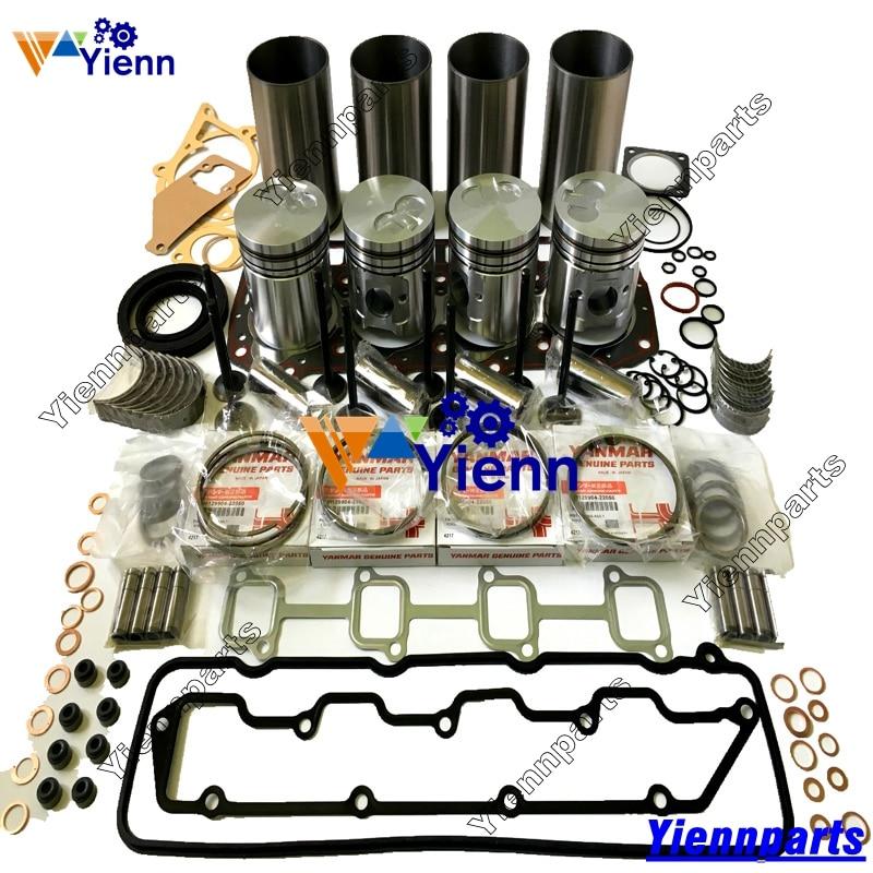 Para Yanmar 4TNE94, Kit de reconstrucción de reacondicionamiento, Kit de cojinete de manguito de anillo de pistón para carretilla excavadora 4TNE94, piezas de motor