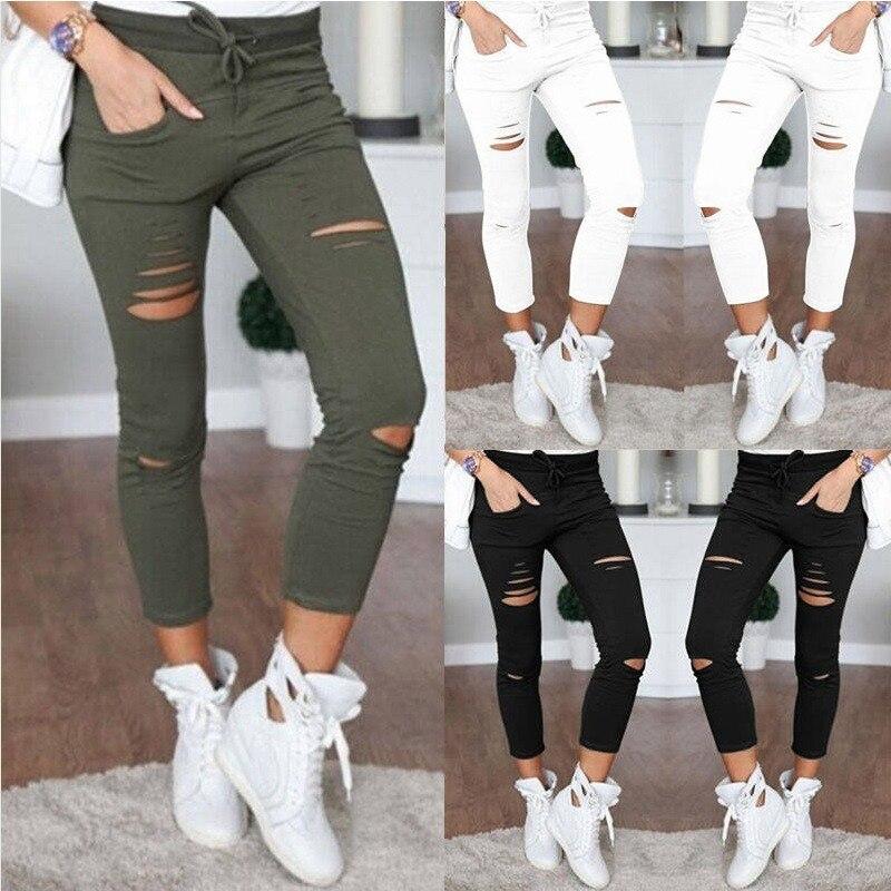 Новые рваные джинсы для женщин, женские рваные брюки большого размера, Стрейчевые брюки-карандаш, леггинсы, женские джинсы