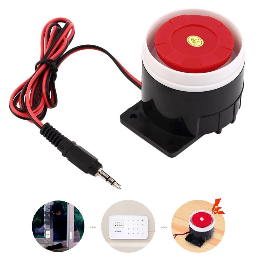 ¡Venta al por mayor! con sistema de altavoz de sirena de alarma con cable rojo 120dB, sirena de Interior de 12V CC, Mini bocina duradera para seguridad en el hogar