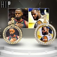 hip hop custom made photo round rotating double sided iced out bling cubic zircon necklacependant for men jewelry tennis chain