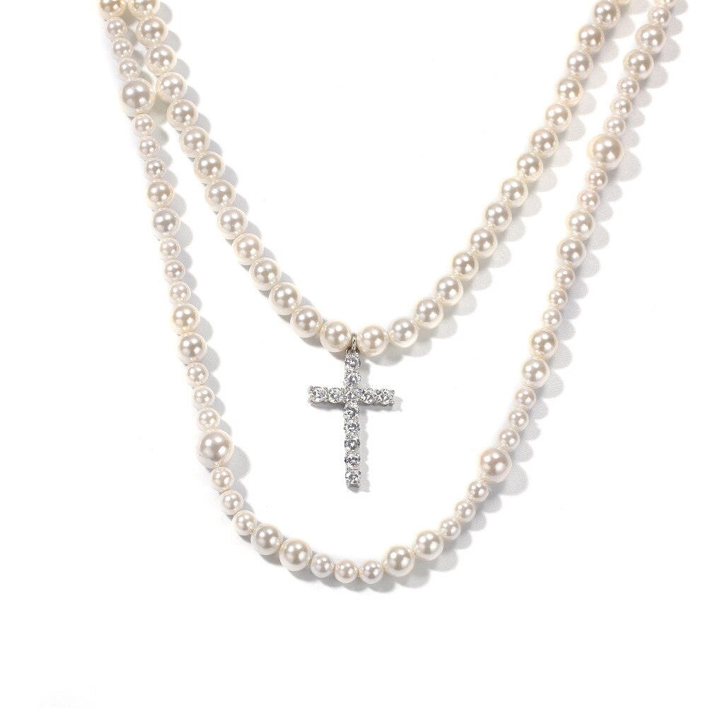 Gran oferta de Europa 2020, nuevo collar de perlas de 8-10mm con colgante de Cruz de exageración de Hip Hop, colgante de moda para hombre y mujer, regalo de joyería