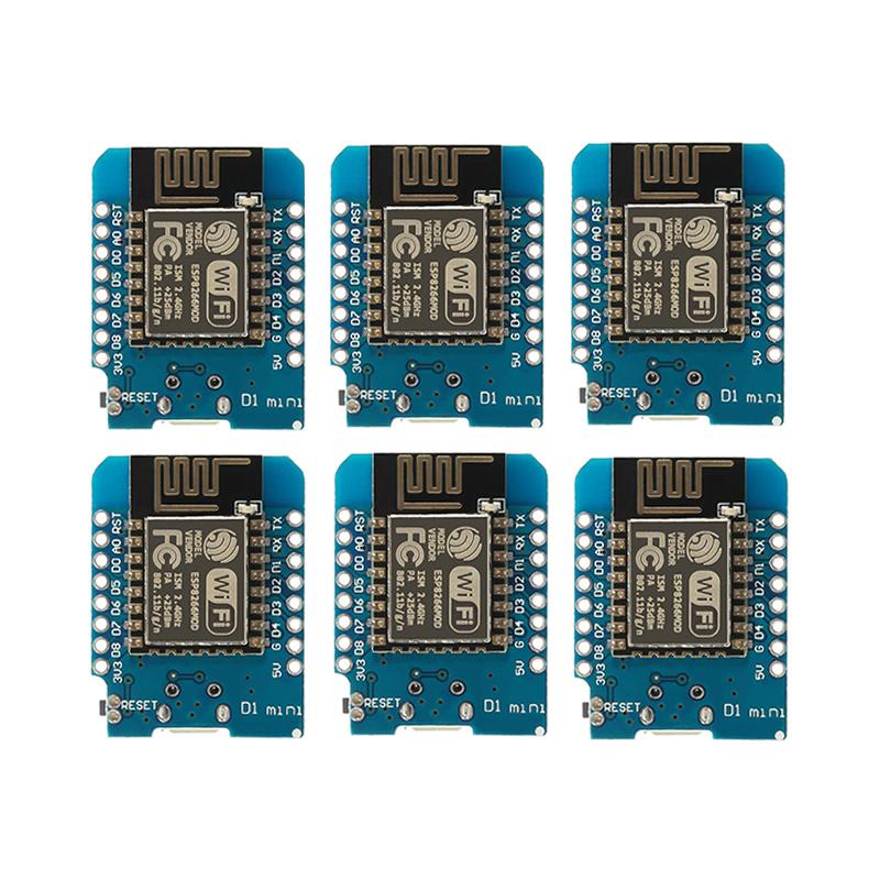 6PCS ESP8266 ESP-12 Wemos D1 Mini WiFi Development Board Micro USB 3.3V Based On ESP-8266 With Pin ESP12 WeMos D1 Mini Module