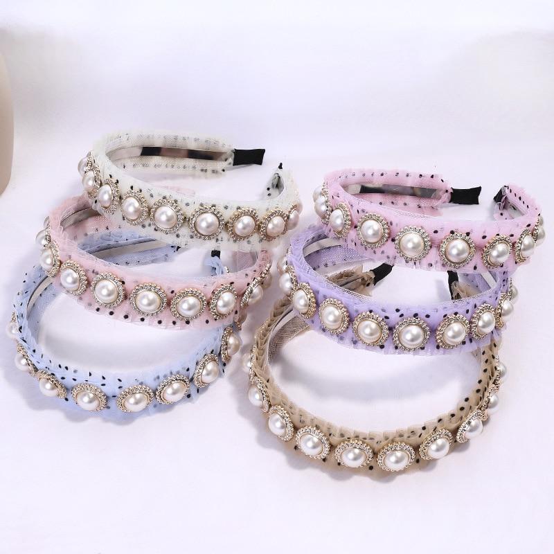 Diadema de punto para mujer, diadema cruzada con pliegues de malla para niñas, accesorios para el cabello para mujer, pañuelo de turbante con perlas grandes, adornos, Haarband C996