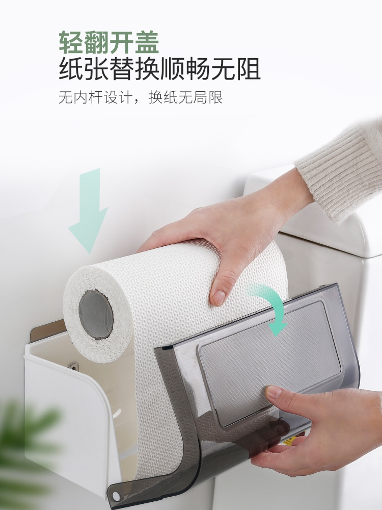 Wall Mount Toilet Paper Holders Roll Paper Moisture Proof Toilet Paper Holders Transparent Wc Rolhouder Home Storage DK50TP enlarge