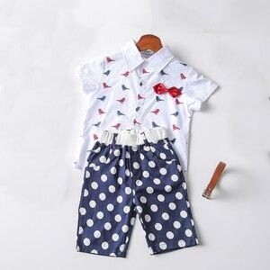 2020 Boys Summer Clothes Kids Outfits Cartoon Print Lapel Shirt + Shorts + Belt 3 Piece Boy Clothes Suit