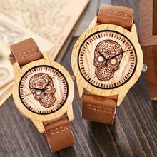 Creative bois montre hommes femmes Couple Quartz imiter bambou bois homme montre montres marron cuir crâne tête poignet horloge Reloj
