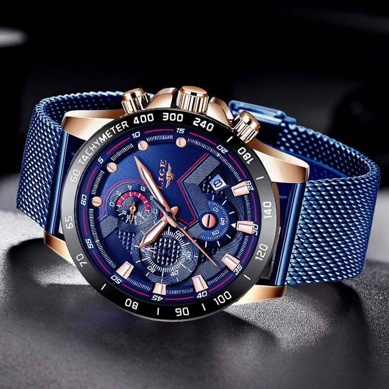 LIGE Fashion Mens Watches Top Brand Luxury WristWatch Quartz Clock Blue Watch Men Waterproof Sport Chronograph Relogio Masculino enlarge
