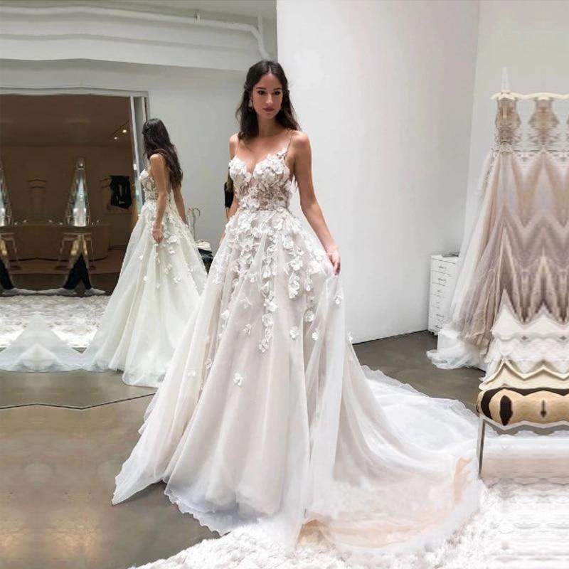 فستان زفاف رشيق من التول والدانتيل ، ياقة على شكل V ، رسن ، ثلاثي الأبعاد ، مزين بالورود ، 2021 ، شحن مجاني