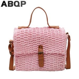 ABQP Woven Straw Bags For Women New Designed Female Shoulder Bag Large Capacity Women's Handbag Summer Beach Straw Bag