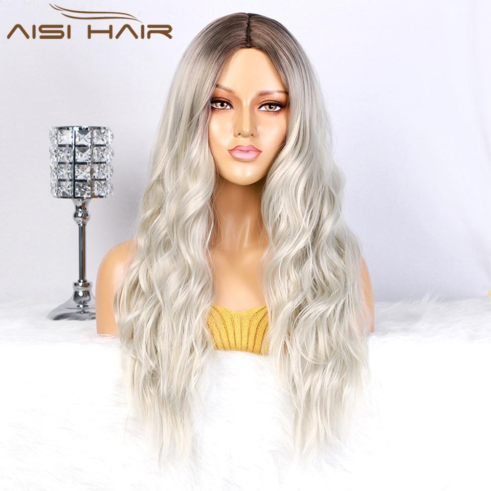 AISI الشعر الطويل المرأة الباروكات أومبير البلاتين باروكة شقراء مقاومة للحرارة جزء الجانب الاصطناعية Wavy الباروكات للنساء من أصول أفريقية