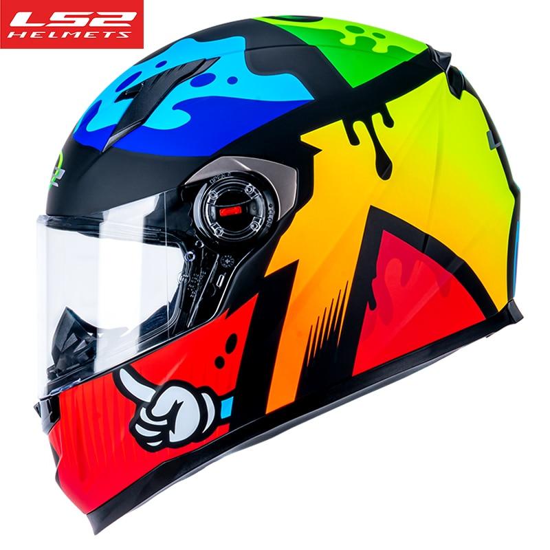 LS2 FF358 خوذة الدراجات النارية تغطي كامل الوجه خوذة كاسكو موتو للرجال والنساء عدسات قابلة للإزالة متعددة الالوان ls2