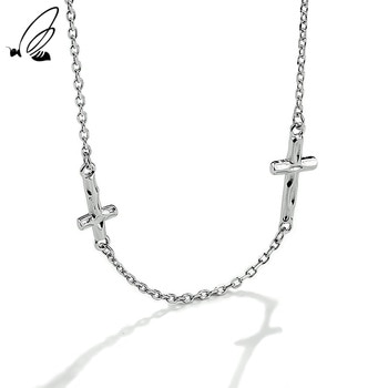 S'STEEL Sterling Silver 925 Chain Simple Fashion Overlapping Cross Necklace Women's For Minimalist Designer 2021 Fine Jewelry