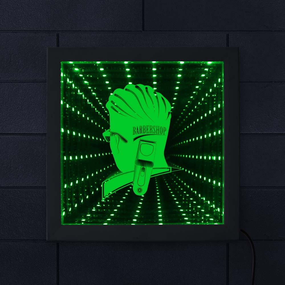 Espejo LED infinito 3D para peluquería, peluquería, corte de pelo, decoración de pared, lámpara de ilusión óptica, marco de madera