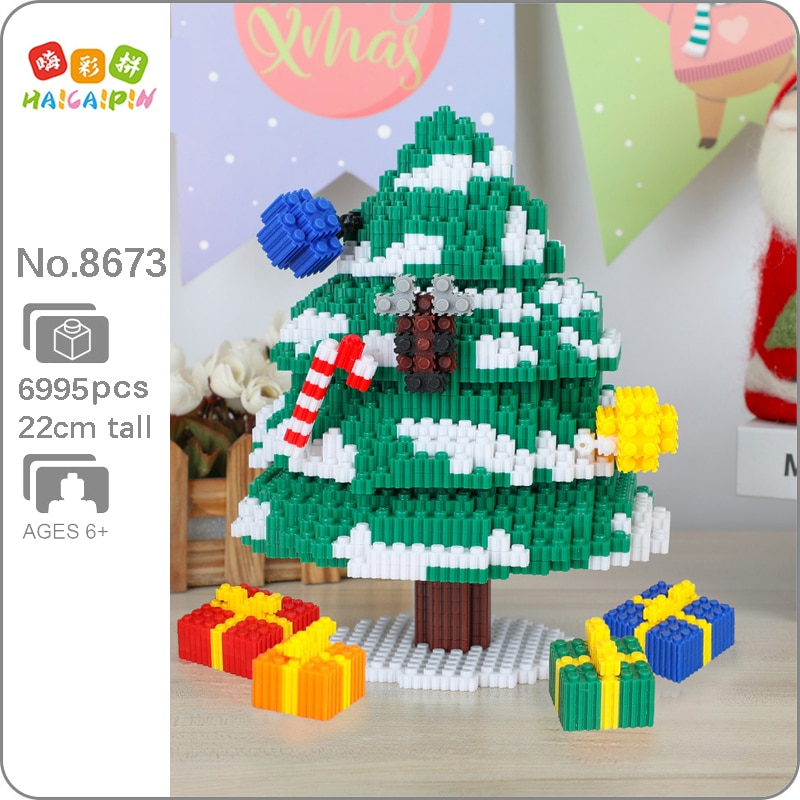 Xizai-مكعبات بناء ثلاثية الأبعاد لهدايا الكريسماس للأطفال ، نموذج لنجوم شجرة الكريسماس ، مكعبات سحرية صغيرة ، لعبة بناء للأطفال بدون صندوق ، 8047