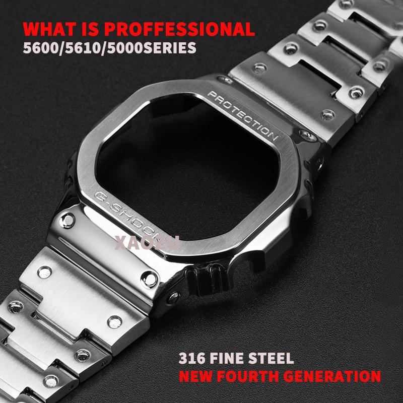 Металлический ремешок для часов XAOZU DW5600 G5600E DW5000/5035, ремешок для часов из нержавеющей стали, Аксессуары для браслета с ремонтными инструмента...