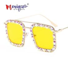 2020 nouveau Style carré Vintage diamant lunettes de soleil hommes rétro lunettes cadres à la mode lumineux lunettes de soleil pour femmes/lunettes pour hommes
