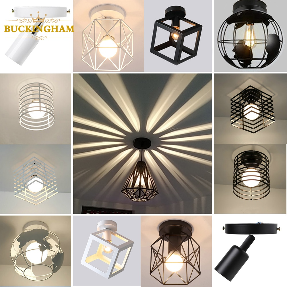 Vintage Ceiling light Modern Nordic Retro Iron lamp Decor For Living Room Bar Black and White Loft E27 Home Lights Cage Fixture