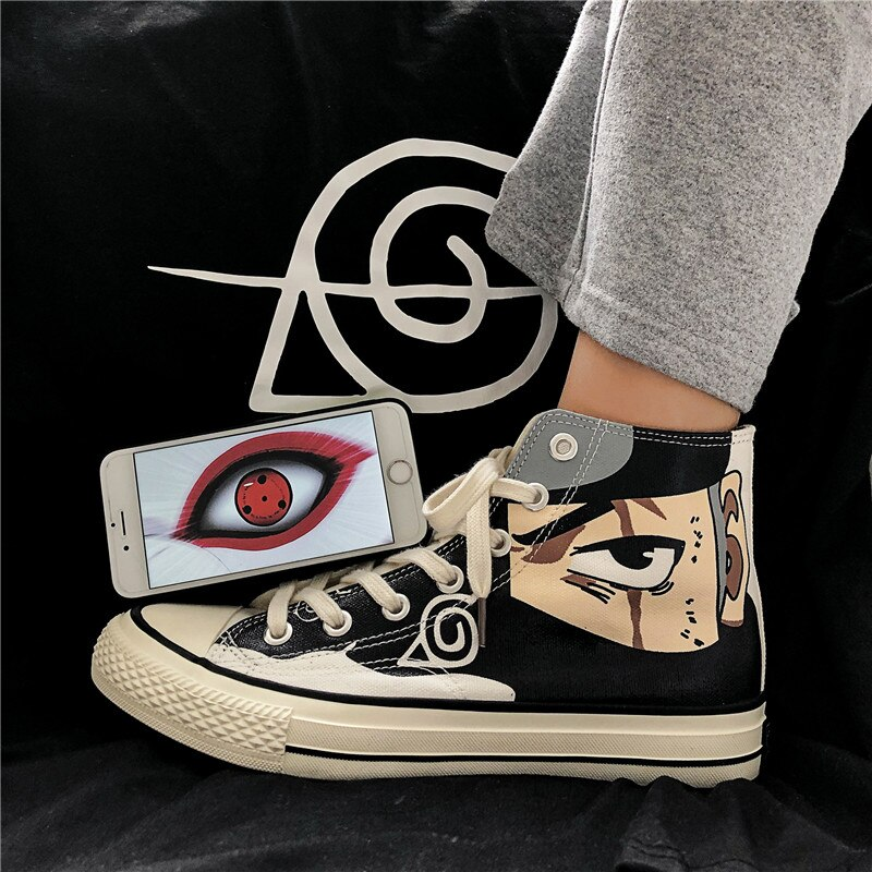 Anime Naruto Canvas Shoes Sasuke Men Vulcanized Shoes Kakashi Sneakers Gaara Madara Pain Cosplay Sch