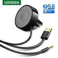 UGREEN Bluetooth 5.0 Car Kit APTX LL Receiver Hands-Free 3.5mm AUX Audio Adapter Dual 4.8A USB Car Charger 3M Base Air Vent Clip