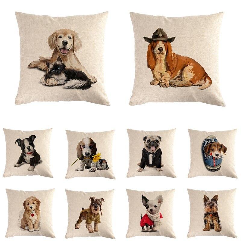 Funda de cojín decorativa con perro bonito pintado a mano de 45x45cm, almohada para perro Chihuahua, funda de almohada con perro pastor alemán