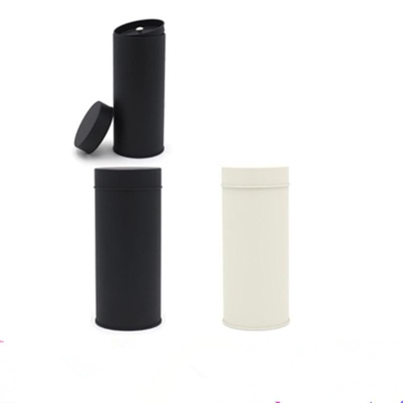 50 قطعة/الوحدة جولة أسود أبيض الشاي القصدير مربع تخزين مربع الشاي