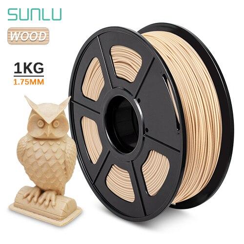 SUNLU PLA madera 1 KG 1,75 MM filamento de impresora 3D 1,75mm +-0,02mm tolerancia madera Fiber100 % sin burbujas con certificado CE