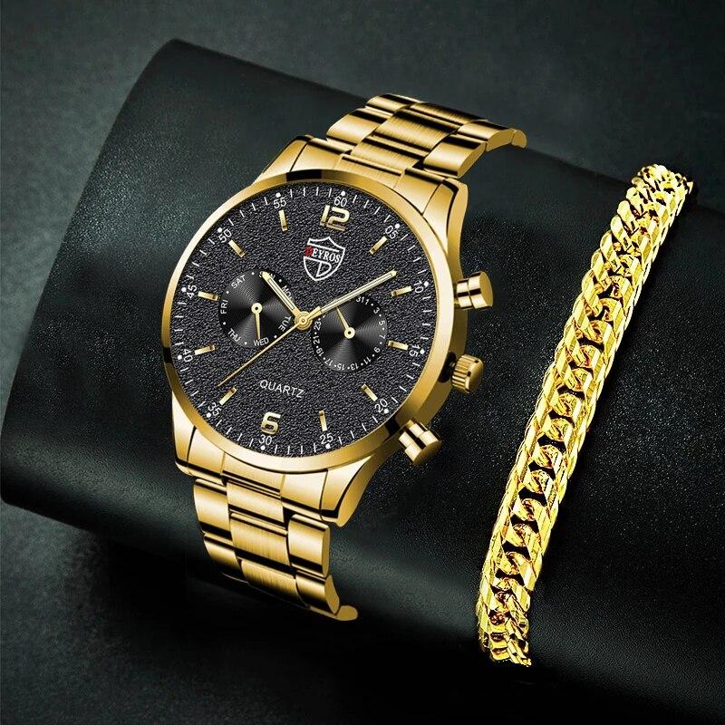 relogio Men Gold Bracelet Watches Fashion Luxury Male Sport Stainless Steel Luminous Clock Analog Qu