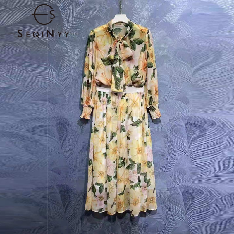 SEQINYY مجموعة شيفون مصمم موضة الصيف الربيع النساء المدرج الدانتيل يصل قميص مرونة الخصر تنورة طويلة كاميليا الزهور طباعة