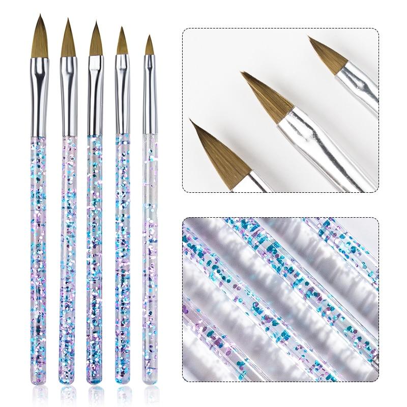 Juego de pinceles para arte de uñas de cristal, set de 5...