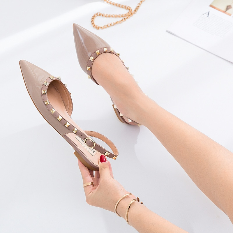 2021 New Women Pumps Office Lady Everyday Wear Pointed Toe Rivets Flat With Sandals Buckle Strap Mother's Day Gift Shoes