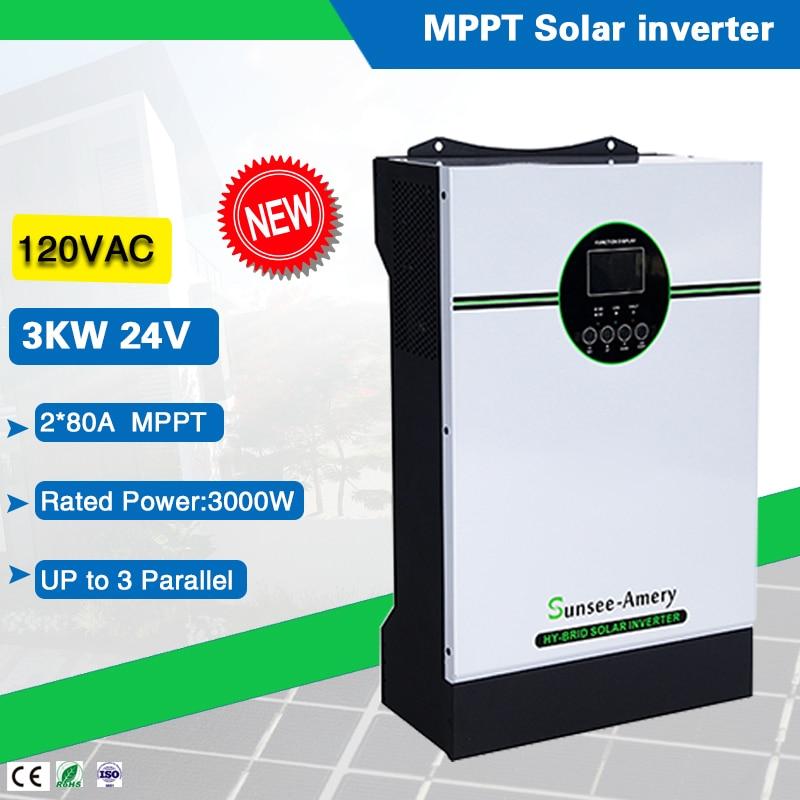 محول طاقة شمسية بموجة جيبية نقية ، 110VAC ، 3000W ، 24VDC ، هجين ، خارج الشبكة ، شاحن شمسي 80a * 2 MPPT مدمج ، وحدة تحكم عالية التردد