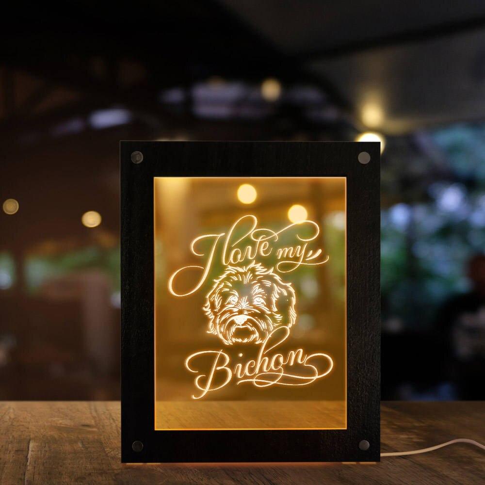 Я люблю свою бишон фризе собака освещение текст фоторамки Забавный Милый щенок светодиодный ночник настольная лампа подарок с домашним любимцем домашний декор