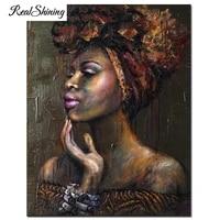 Peinture diamant rond 5D carre bricolage   Broderie en diamant  point de croix  femmes africaines  portrait mosaique  decor de maison FS6672