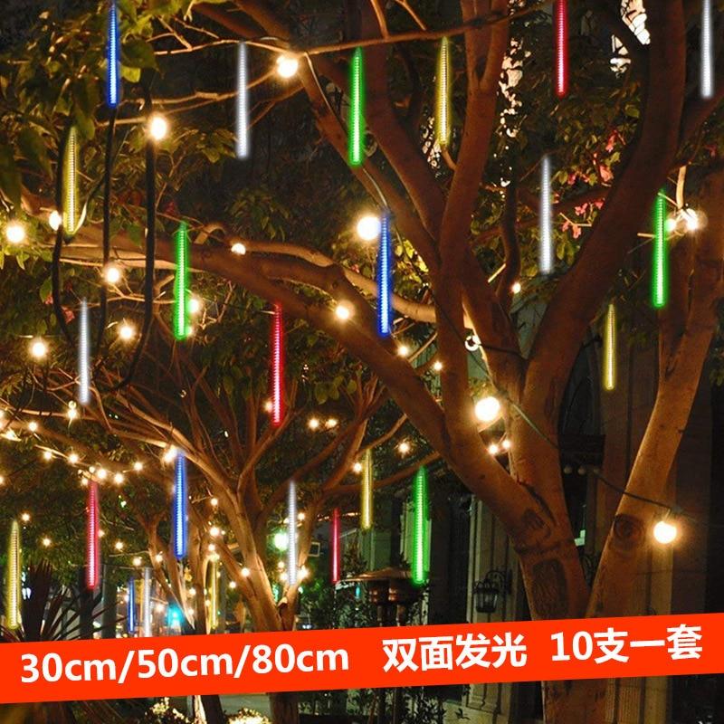 meteor shower LED light strip waterproof hanging tree decoration Christmas Spring Festival garden star light 10 sets