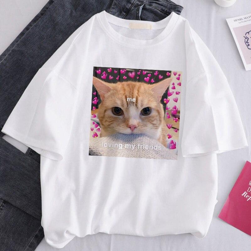 ERNESTNM lindo gato ama Animal impreso Verano de manga corta Camisetas Casual suelta gran tamaño divertido Spoof pareja camiseta