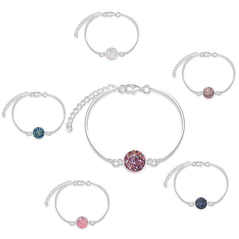 Pulsera de cristal redonda de moda para mujer, pulsera de cadena ajustable de verano de piedra Natural para la playa, pulseras de muñeca, accesorios de joyería