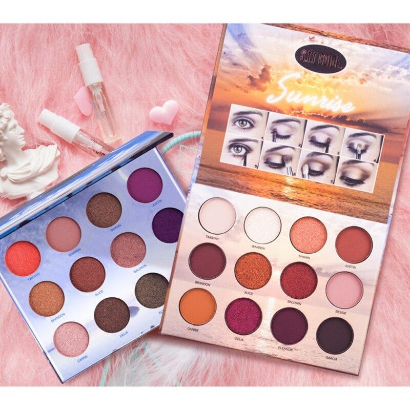 Paleta de sombra de ojos de 12 Colores impermeable Natural a prueba de manchas brillo de larga duración mate sombra de ojos paleta de maquillaje