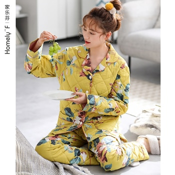 Pajamas Women's Autumn Winter Thick Pure Cotton Long-Sleeved Home Wear Cotton Padded Jacket Middle-Aged Mother Warm
