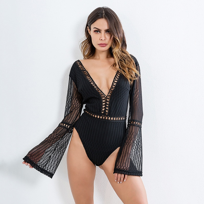 2020 Female Sexy Deep V-Neck Backless Slim Rompers Lace Patchwork Bodysuit Women Long Sleeve Summer Beach Hot Bodysuits
