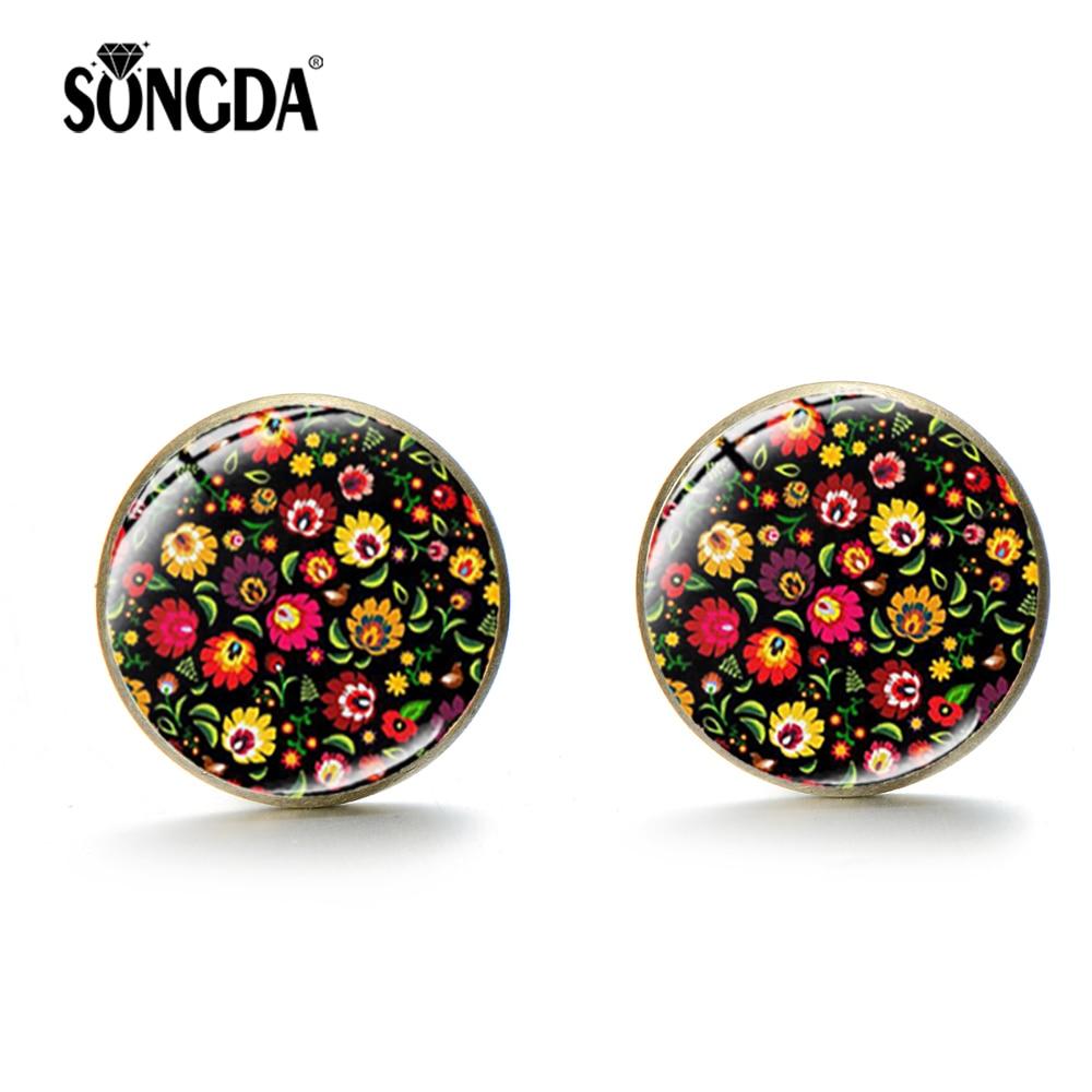 SONGDA 2019 New Polish Folk Art Patterns Stud Earring Boho Floral Ear Stud Glass Cabochon Photo Earrings Handcraft Women Jewelry
