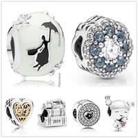 original 925 sterling silver sparkle flower radiant heart with crystal charm beads fit pandora bracelet necklace jewelry