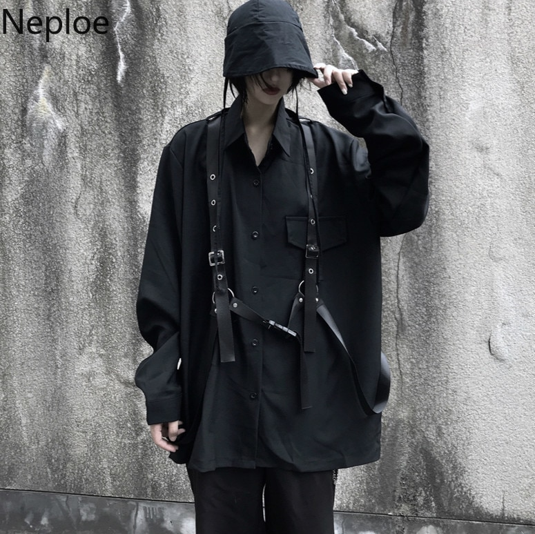 Neploe Vintage blusa negra de manga larga Harajuku mujeres hombres camisa 2020 otoño Corea Bandage Blusas Medium-Camisetas largas Coat 55503
