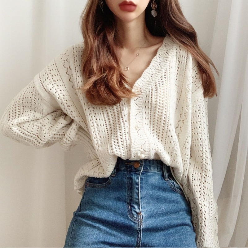 Women Long Sleeve Hollow Out Sexy Cardigan Loose White Tops 2021 Spring Summer Sweater and Cardigans Low V-Neck Knit T-shirts