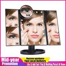 Écran tactile LED 22 lumière maquillage miroir Table bureau maquillage 1X/2X/3X/10X grossissant miroirs vanité 3 pliant réglable miroir