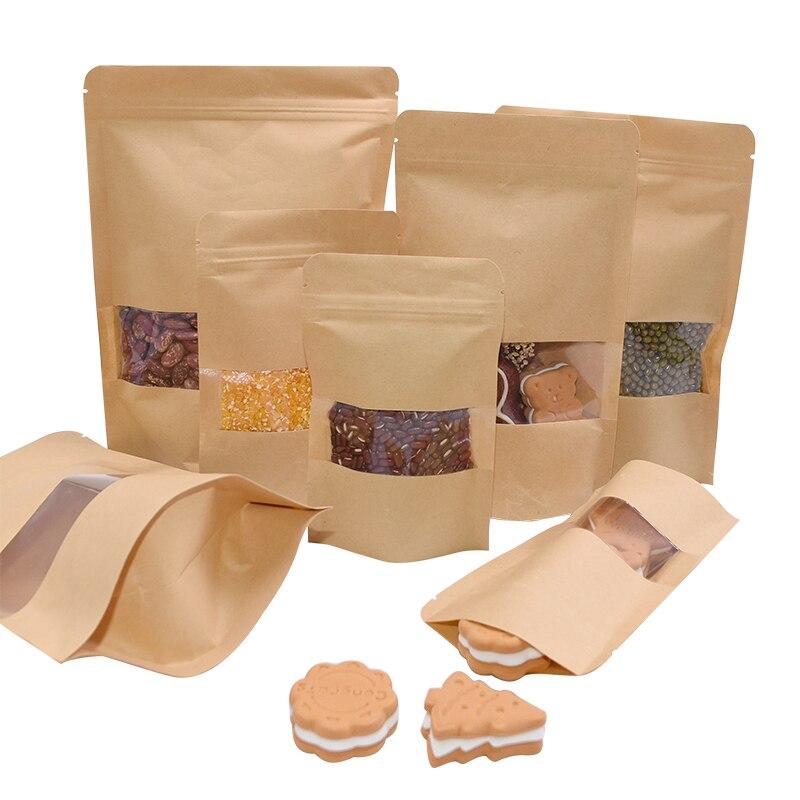 10 Uds. Bolsas de caramelo de frutos secos de papel Kraft marrón comida casera en la cocina bolsa con cierre hermético para aperitivos de fiesta de boda reciclable