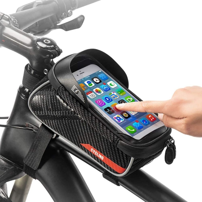 Bicycle Front Frame Storage Bag with TPU Touchscreen MTB Top Tube Phone Mount
