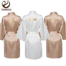 Robes de demoiselle dhonneur mariage Rose or Satin soie robe de mariée fête de mariage Robe de mariée demoiselle dhonneur mariée robe de chambre vêtements de nuit
