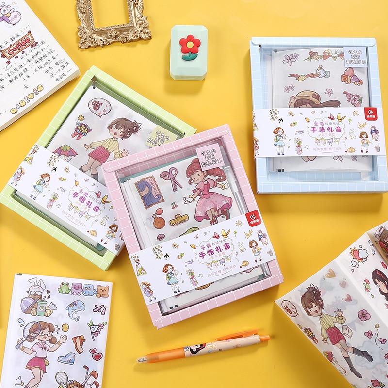 48Pcs Kawaii Cute Washi Tape DIY Label Girl Cartoon Pattern Hand Account Decoration Adhesive Paper Stationery School Stickers