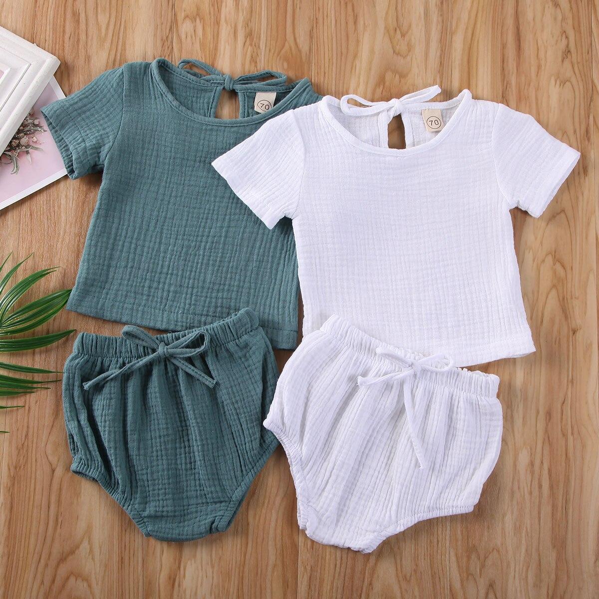 2 uds. Conjunto de ropa informal de verano para niños y bebés, conjunto de ropa de algodón y lino, camiseta + Pantalones cortos, trajes, traje para casa sólido