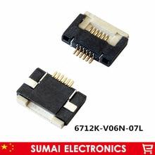 FPC/FFC Flip-abierto tipo de cable hembra 6 P 0,5mm para pantalla de LCD H = 2,0mm 6712K-V06N-07L, 6 pines chapados en oro